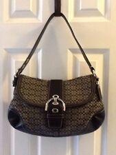 COACH Soho Hobo black Jacquard Signature Monogram shoulder bag purse F10926