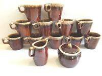 14 Pc VTG Hull Coffee Tea Mug Sugar Creamer Brown Drip Glaze Retro Pottery Decor