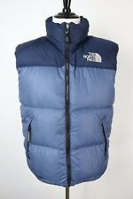 North Face 700 Goose Down Puffer Vest Blue Navy Zip Winter Jacket Hood Mens L
