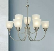 9-Light Modern and Clean Chandelier Satin Brushed Nickel Alabaster Swirl Glass