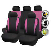 Universal Seat Protector Front Rear Full Set Car Seat Covers Pink For Girls
