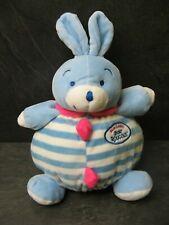 peluche doudou lapin bleu blanc rose mon doudou mont roucous 33 cm état neuf