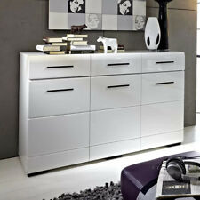 Large Sideboard Cabinet High Gloss White Doors Drawers Black Accents Fever
