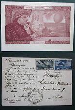 1946 SANREMO I MOSTRA RADUNO FILATELICO cartolina viaggiata bollo posta aerea