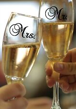 "MR & MRS Wedding Champagne Glass Vinyl Sticker Decal Set 1.5""h x 2.5""w each"