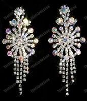 """BIG huge 3.75/""""long RHINESTONE CRYSTAL EARRINGS chandelier SPARKLY glam wedding"""
