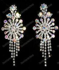 """HUGE CLIP ON 3""""long RHINESTONE big AB CRYSTAL diamante BIG CHANDELIER EARRINGS"""