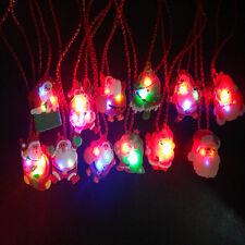 Christmas Gift LED Flashing Light Xmas Santa Claus Pendant Chain Necklace NEW