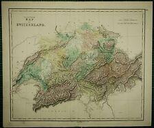 1850 LARGE ANTIQUE HAND COLOURED MAP ~ SWITZERLAND VAUD GRISON BERNE SCHWEITZ
