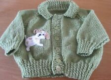 HAND KNITTED BOYS PUPPY CARDIGAN. AGE 18-24m.