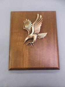 metal eagle  trophy award large 8 x 10 solid walnut plaque