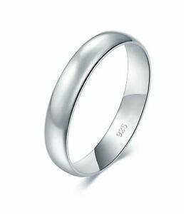 925 Sterling Silver Ring High Polish Plain Dome Platinum plating Wedding Band