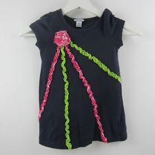 Hartstrings Girls Top Flower Ruffle Trim Casual Shirt 100% Cotton Navy Blue Sz 4