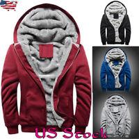Men Fur Lined Winter Hoodie Jacket Thick Warm Fleece Hooded Outwear Coat Parka