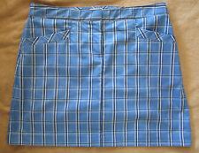 IZOD XFG Stretch Blue Plaid Golf Skort Shorts Attached Women's 8