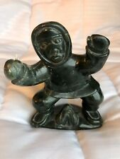 Vintage Lucassie Tukai Eskimo Serpentine Soapstone Carving Fishing Sculpture