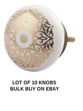 10 X Antique Porcelain door Knob Painted Gold Medallion Design Vintage Victorian