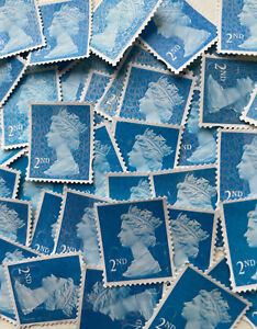 100 x UNFRANKED 2nd class stamps OFF paper. No Gum -- Face Value £66 - Bargain