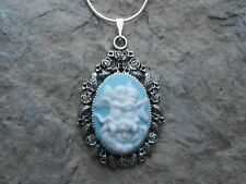 New listing Two Angels/Cherubs Hugging Cameo Necklace-925 Plate Chain- Quality
