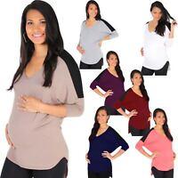 Maternity Batwing Baggy Loose T Shirt Tunic Top 3/4 Sleeve Dip Hem Long Casual