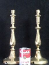 "Antique Rosland large Brass pair Candlesticks 14"" tall fitted lamp cord signed"