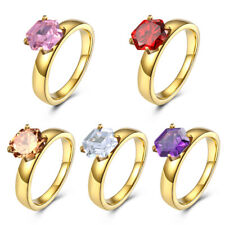 Ring Wedding Engagement Party Jewelry Fashion Cubic Zirconia Gold Plated Lady