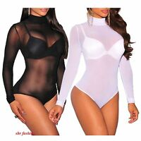 Womens Ladies Turtle Polo Neck Sheer Mesh Long Sleeve Leotard Bodysuit  8-26