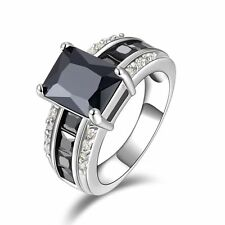 Men&Women Black Sapphire18K Gold Filled Size 11 Fashion Wedding Gift