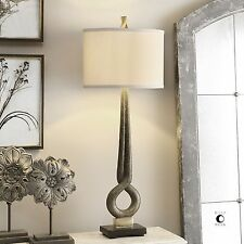 Modern Art Gold Bronze Table Lamp | Sculpture Abstract Tall