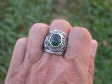 Stainless Steel United States Air Force Military May Emerald Men Ring Size 11