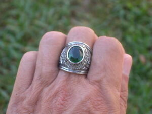 Stainless Steel United States Air Force Military May Emerald Men Ring Size 12