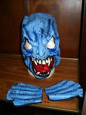 BLUE ZOMBIE MASK & HAND FINGERLESS GLOVES HALLOWEEN COSTUME PROP PVC SURPLUS