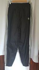 adidas Men's Large Nylon Athletic Warm Up Pants Black White Stripe Zip Cuff C38
