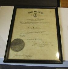 1920 Baltimore Mayor William Browning Signed Autograph Official City Document