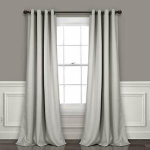 Lush Decor Light Gray Curtains-Grommet Panel with with Insulated Blackout Lin...