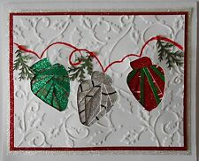 "Iris Fold Greeting Card Christmas Lights Hand Made 5"" x 6"" BUY ANY 3 SHIP FREE"