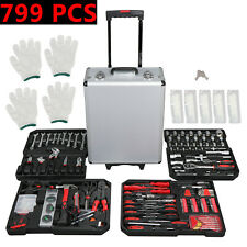 799 Pcs Hand Tool Set Mechanics Kit Metric Ratchet Wrench Set Trolley Tool box