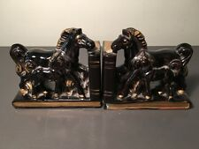 1940's-1950's HORSE FOAL AND DAM CERAMIC BOOKENDS w/HAND-PAINTED GOLD ACCENTS!
