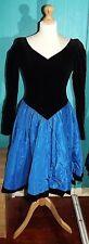 Vintage Laura Ashley 1980s Black & Blue Evening/Ballgown/Cocktail Dress UK 10