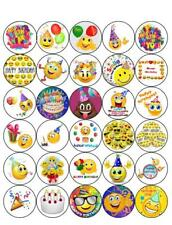 30 PRE-CUT EMOJI SMILEY HAPPY BIRTHDAY CUP CAKE EDIBLE RICE WAFER PAPER TOPPERS