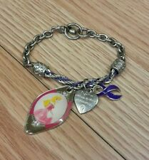 Disney Sleeping Beauty Aurora & Maleficent Cancer Awareness Metal Charm Bracelet