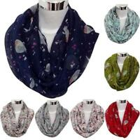 Fashion Womens Floral Bird Print Winter Warm Voile Scarf Wrap Shawl Soft Scarves