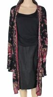 Angie Womens Sweater Black Size Large L Floral Tie Sleeve Long Cardigan $48 #234