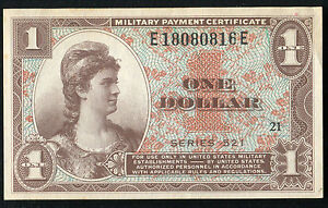 SERIES 521 $1 ONE DOLLAR MPC MILITARY PAYMENT CERTIFICATE GEM UNCIRCULATED