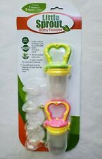 Little Sprout Baby Food Self Feeder 2Handles Pink /Green & 6 Nipples in 3 size
