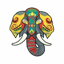 Tribal Elephant (Iron On) Embroidery Applique Patch Sew Iron Badge