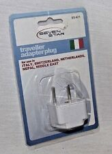 Travel Adapter Plug Seven Stars Europe Italy Switzerland, Middle East SS-611 New