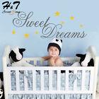 Sweet Dreams Stars Words Quote Bedroom Vinyl Wall Sticker Decal Kids Baby Room