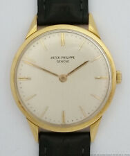 $6900 Rare Patek Philippe 2568 18k Gold Faceted Lugs Mens Vintage Watch