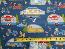 Camping Lets go Glamping Tear Drop Campers on Blue BY YARDS Wilmington Fabric